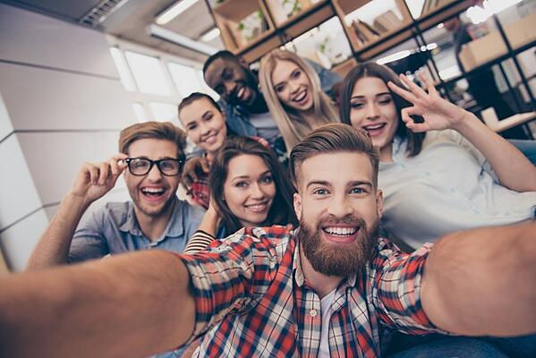 Group of students looking happy together